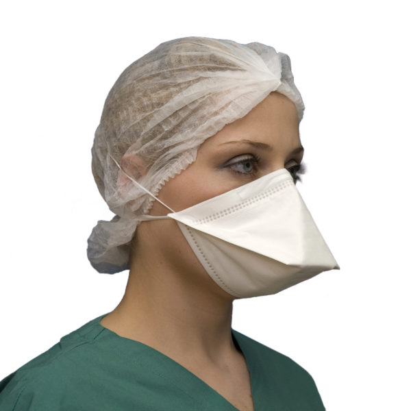 Respirator Face Mask FFP2 NR Flat Fold Side View
